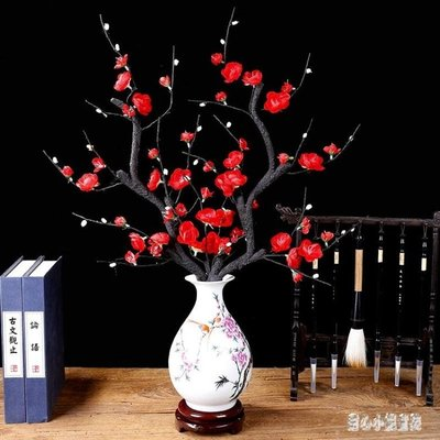 假花裝飾擺件 單支仿真梅花臘梅假花干花花瓶插花家居裝飾品 nm10478