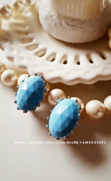 黑爾典藏西洋古董~美國Judy Lee1960's廣告款天空藍鑽石面切割夾式耳環~Vintage復古珠寶