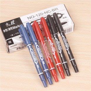 【拉拉Lala's shop】小雙頭水性筆記號筆細頭不掉色勾线筆書寫筆黑紅藍色5