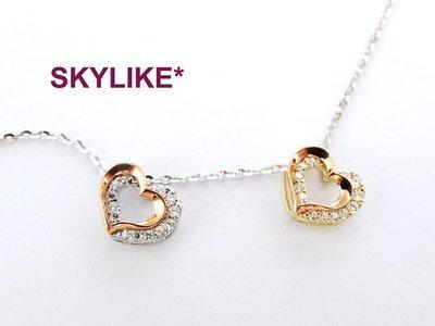*SKYLIKE* 最可愛-韓國進口墜585/14K白K金、黃K金、玫瑰金亮面華麗立體心鋯石墬子,JP-41916
