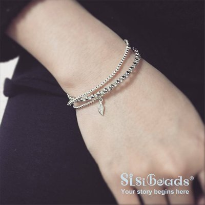 Sisibeads荷蘭純銀品牌 許願輕珠寶 許願手鍊 希望之芽 葉子純銀串珠手鍊 混搭多層次 全新現貨代購 另有一元起標