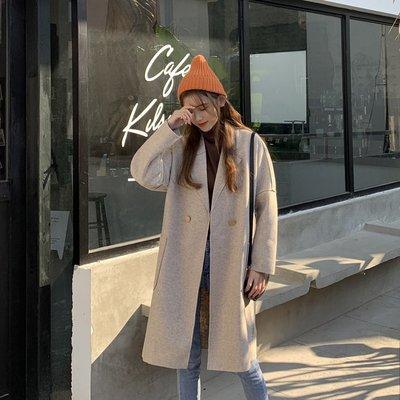 秋冬新款毛呢外套韓版寬松顯瘦赫本風中長款純色秋冬呢子大衣女