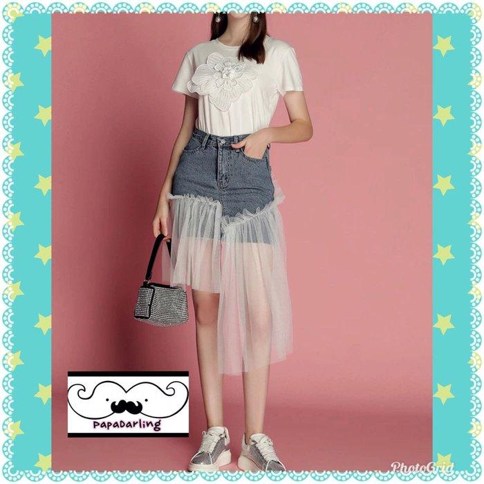 PapaDarling 19SS 獨家訂製款百搭白色綉花短袖上衣 T恤穿搭牛仔拼接不規則網紗裙 套裝 短袖裙裝