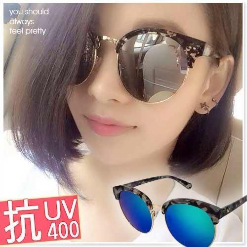 反光太陽眼鏡 抗UV水銀反光大片復古小款墨鏡 透明迷彩膠框 贈精美盒Z27 ☆匠子工坊☆【UG0061】