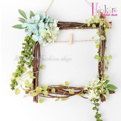 ☆[Hankaro]☆ 北歐清新風格樹藤方形仿真花藝掛飾(繡球花)