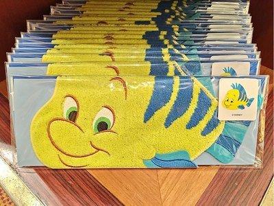 Ariel's Wish-日本東京迪士尼小美人魚公主愛麗兒好朋友小比目魚Flounder擦手巾手帕四方巾小毛巾-現貨