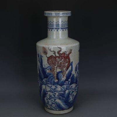 ㊣姥姥的寶藏㊣ 大清康熙青花釉里紅海水神獸紋棒槌瓶柴窯手工  古瓷古玩古董收藏