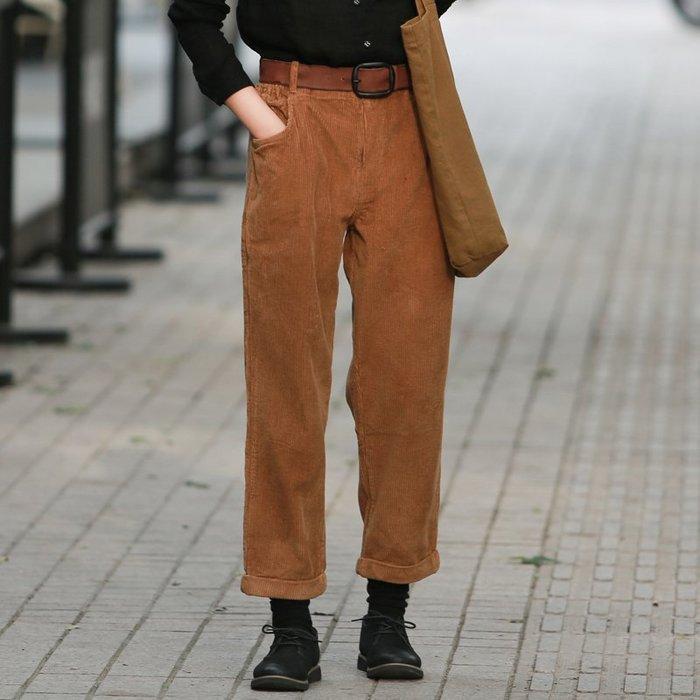 【鈷藍家】棉麻臆想 復古坑條燈芯絨哈倫褲秋冬溫暖顯瘦立體剪裁小腳褲休閒褲
