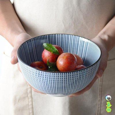 (2件免運)日式和風面碗家用陶瓷千段草飯碗湯碗釉下彩年輪復古風沙拉碗大 集物生活