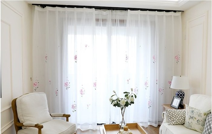 (一窗一世界)4韓國進口手繪紗簾成品定製客廳臥室飄窗紗簾(含加工一米紗價)