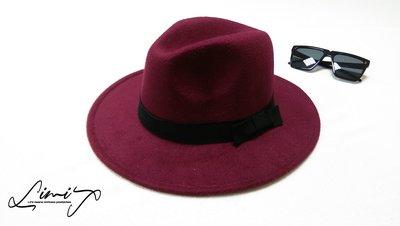 棗紅可調寬沿紳士帽 Wide brim hat 歐美 百搭 古著 復古 毛呢  寬沿 大帽簷 【LtLf】