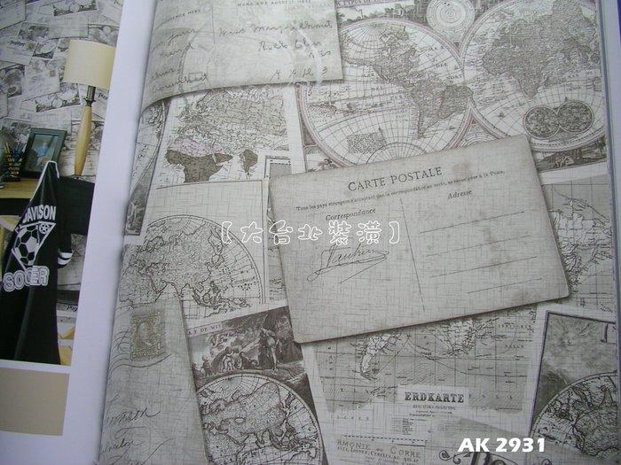 【大台北裝潢】AK進口平滑面純紙壁紙* 懷舊風 世界地圖明信片(5色) 每支1800元