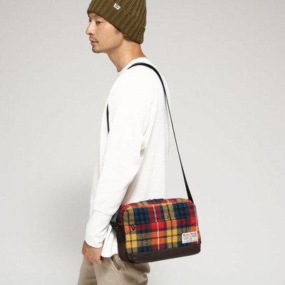 潮流服飾  全新BASE CONTROL X HARRIS TWEED 聯名款哈里斯羊毛 黑灰格紋 單肩包 肩背包