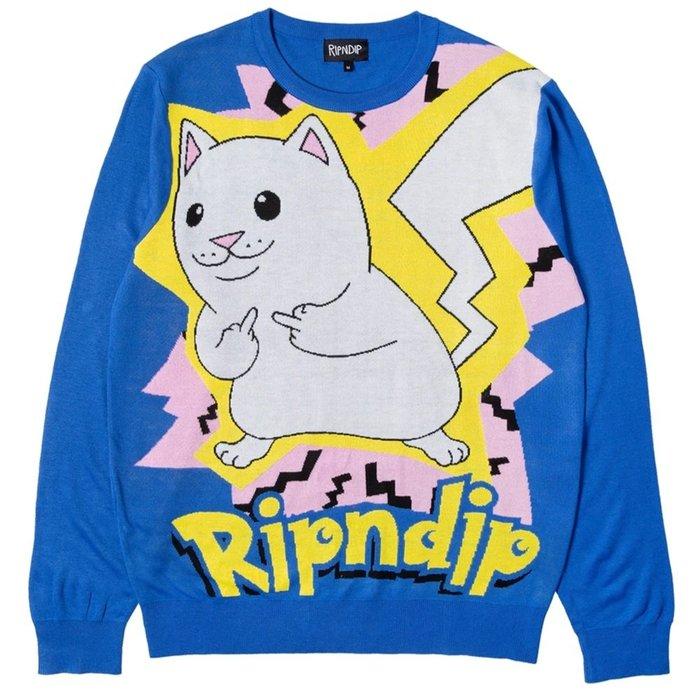 【A-KAY0】RIPNDIP 男女 CATCH EM ALL SWEATER 針織毛衣 藍【RND3911BLUE】