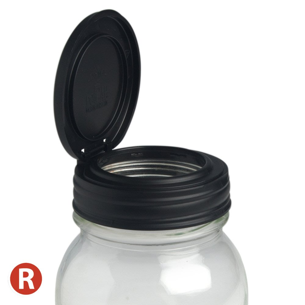 ☘小宅私物 ☘ 美國 reCAP 多功能杯蓋 窄口黑 (單入 - 多件優惠) 梅森罐配件 平口蓋 現貨 附發票