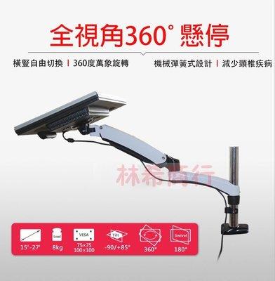 免運 電視架 電腦 螢幕架 壁掛 多角度 360度 多向可調 隨拉隨停 機械彈簧 台中 自取 人體工學 夾桌雙臂 現貨