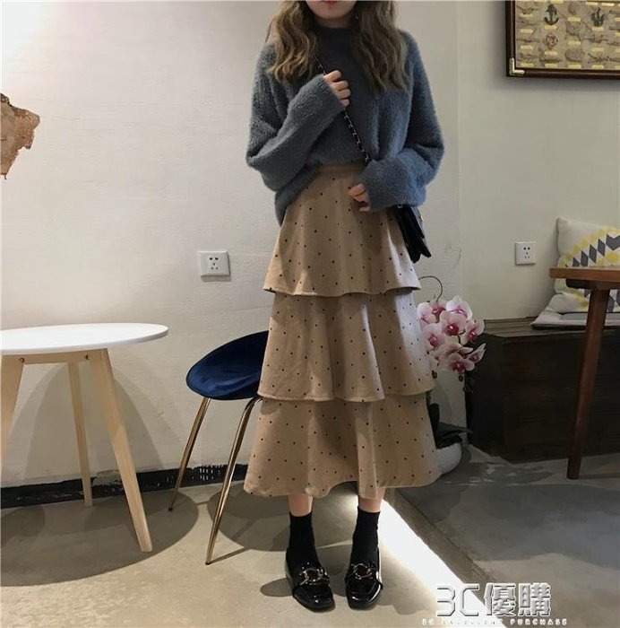 網紗裙 半身裙女新款學生chic百搭韓版波點高腰A字裙蛋糕裙