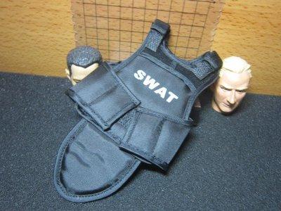 PJ4Z特警部門 1/6黑色SWAT防彈背心附護襠一件(前後可拆)
