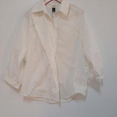 1元起標無底價日韓版時尚早春韓國時尚白色燈籠袖七分袖長袖襯衫上衣 1色-JYUN'S 0220現貨