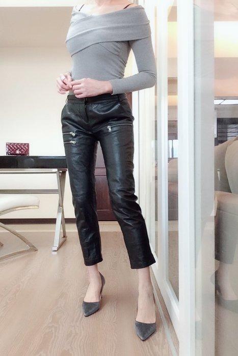*Beauty*黑色真皮褲(拉鍊)3500元PH