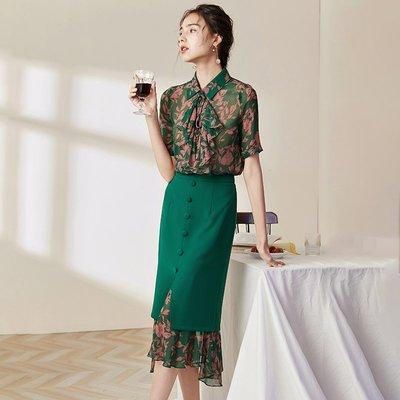 ♈尹愛服飾♈高端3009100氣質修身印花襯衣+修身開叉半身裙兩件套裝