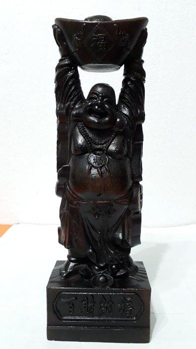 【九龍藝品】沉木雕 ~ 彌勒佛財神 ~百財納福.高約27.8公分 (1)