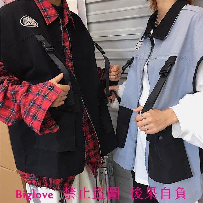 18韓國復古插扣大口袋工裝外套潮流小馬甲 男女款