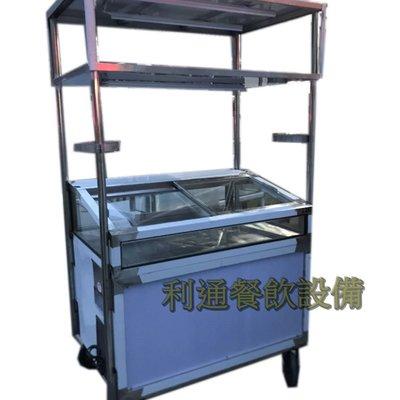 《利通餐飲設備》有燈架4尺-魯味展示櫥.滷味展示台 烤肉串展示冰箱 冷藏冰箱 玻璃展示櫃 移動式攤車 車台 ,攤台