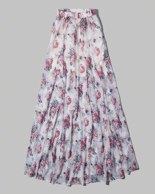 Maple麋鹿小舖 Abercrombie&Fitch * AF 花花雪紡長裙Cindy Maxi Skirt*(現貨)