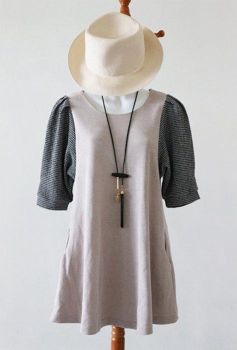 奶茶色黑細格泡泡袖上衣(非iroo-MOMA-a&f-roots-2六藝-zara)E箱E11【單件-200含郵】