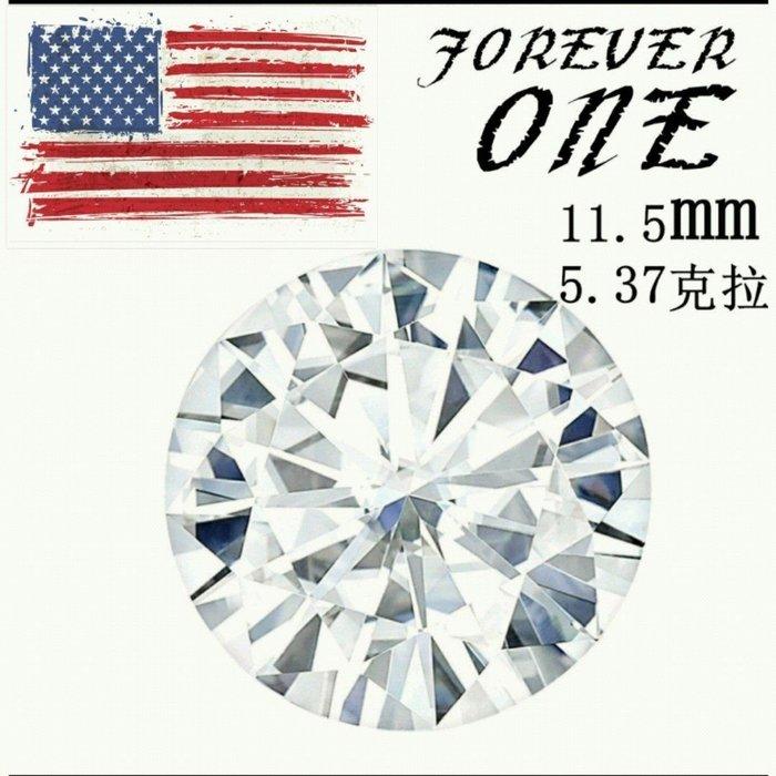 摩星鑽 莫桑鑽特價5.3克拉 全Y拍最低價 美國FOREVER ONE正品莫桑石新超白圓形11.5mm 鉑金卡ZB鑽寶