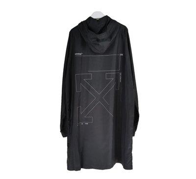 美國潮牌OFF WHITE RAINCOAT 新款衫背箭頭印花反光全黑色防水防風有帽雨衣外套