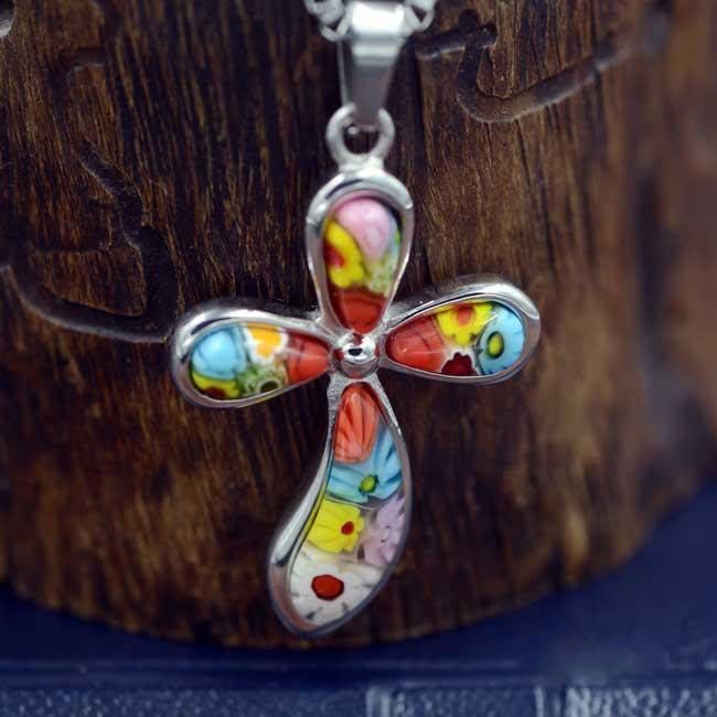 【弘慧堂】  精美千花琉璃鈦鋼十字架(彎圓) 天主教聖物 耶穌基督 聖母瑪利