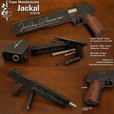 豺狼Jackal手槍 含內構可拆卸手工制作DIY紙模型槍械 1:1