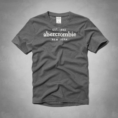 Maple麋鹿小舖 abercrombie&fitch * a&f 男童款深灰色字母電繡短T *( 現貨XL號 )