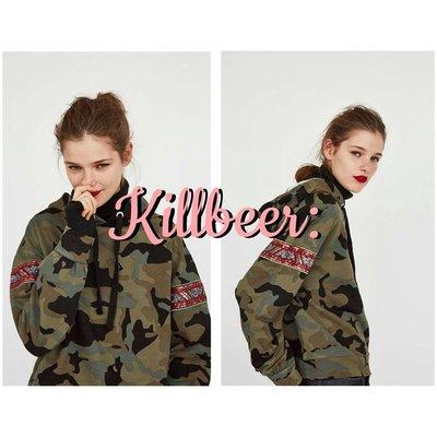 KillBeer:妞兒請妳別太帥之 歐美復古美式經典軍裝迷彩民族風亮片刺繡棉質休閒連帽T恤上衣zara topshop