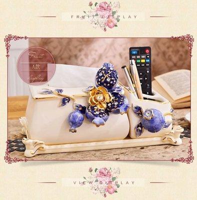 粉紅玫瑰精品屋~歐式奢華陶瓷金鑽藍石榴...