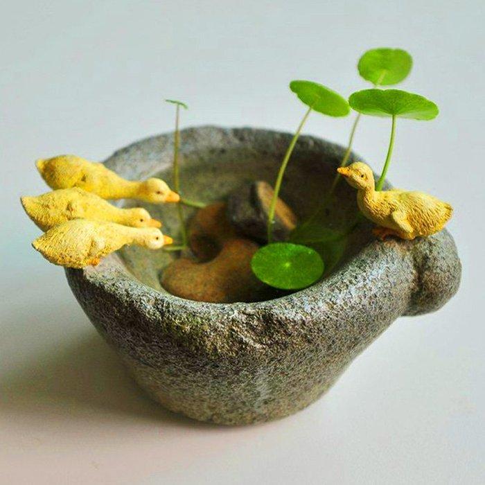 原创铜钱草水培花盆禅意个性装饰品仿石臼多肉植物盆栽小鸭子礼物米斯特芳