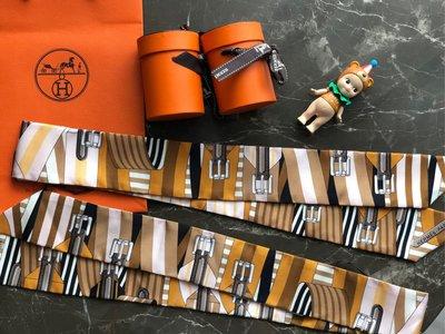 (已售 欣賞)【蜜柑醬】Hermès/Hermes 愛馬仕 twilly 絲巾sangles