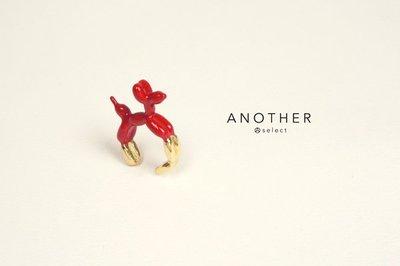 Poodle 貴賓狗造型釉彩戒指 亮紅色