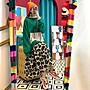 洋裝 撞色蝙蝠袖寬鬆拼接豹紋連帽假兩件連身裙 艾爾莎【TGK8569】