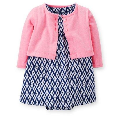【Carters 卡特】Carter's 美國正品 粉紅小外套+圖騰連身洋裝 套裝 USA美國精品時尚小舖