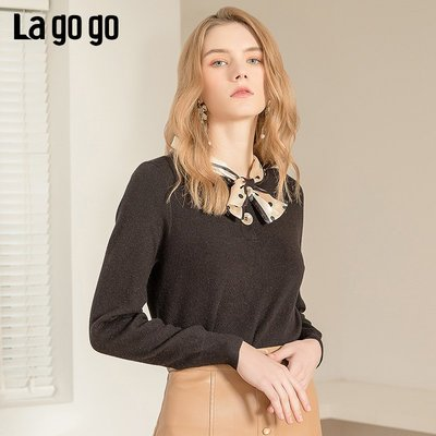 Goal正韓新款針織衫毛衣Lagogo拉谷谷2020春季新款套頭黑色V領簡約波點系帶長袖針織衫女