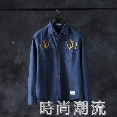ZIHOPE 牛仔襯衫春秋男士外套日系休閒修身刺繡長袖襯衣潮男士衣ZI812