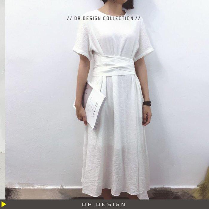 出清大特價►DR.DESIGN│DR3174現貨白特價-暗黑 法式簡約時髦 簡單 棉麻 長綁帶 洋裝 黑/白