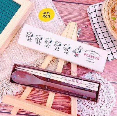 ♥小花花日本精品♥史努比環保餐具筷子湯匙組附盒可隨身攜帶乾淨衛生單一價~5