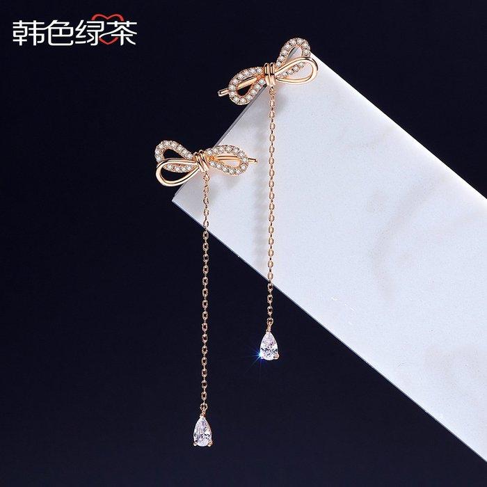 Lissom韓國代購~浪漫蝴蝶結耳環大氣長款個性耳墜氣質簡約925銀針適合圓臉的耳飾