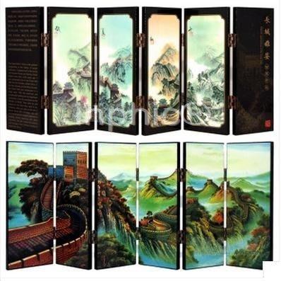 INPHIC-小款漆器小屏風裝飾擺飾 中國特色 長城雄姿