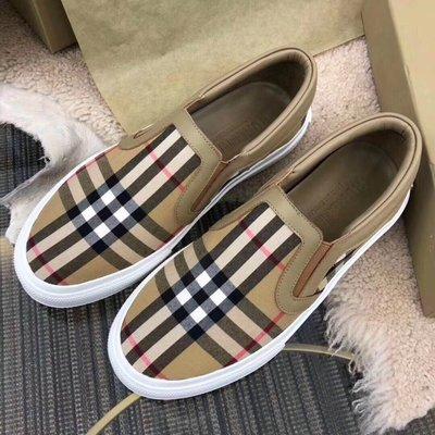 ╭☆包媽子店☆Burberry 中性款經典格紋休閒平底鞋/樂福鞋