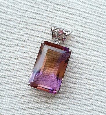 ☆采鑫天然寶石☆**雙贏**~~珠寶級濃彩紫黃晶墜~包框設計款~極美珍藏